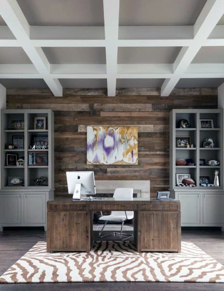 Home Office Wood Wall Ideas Reclaimed Barn Design With Grey Bookcases