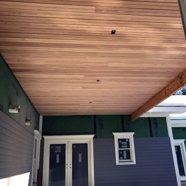 Home Outdoor Designs Porch Ceiling Light Brown Wood Stain