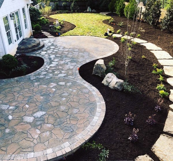 Home Outdoor Patio Designs Flagstone Walkway