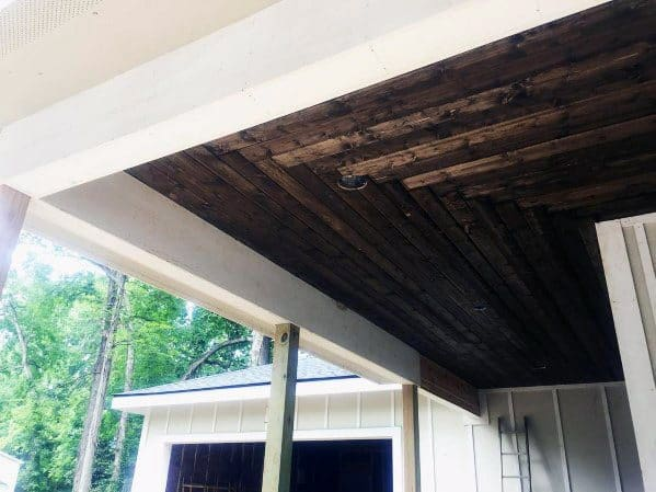 Home Outdoor Porch Ceiling Stained Wood