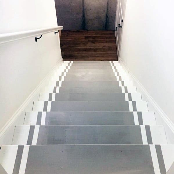 Home Painted Stairs Ideas Grey Treads