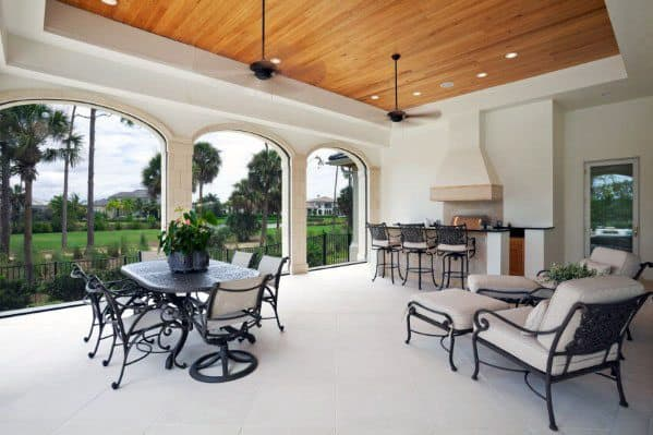 Home Patio Roof Ideas With Wood Ceiling And Fireplace