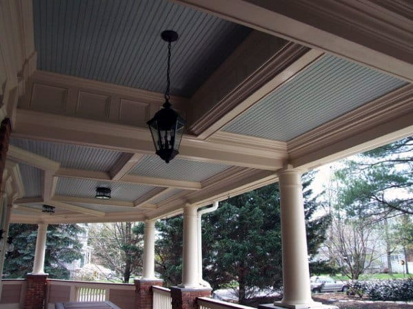 Home Porch Ceiling Ideas Coffered White And Light Blue Paint