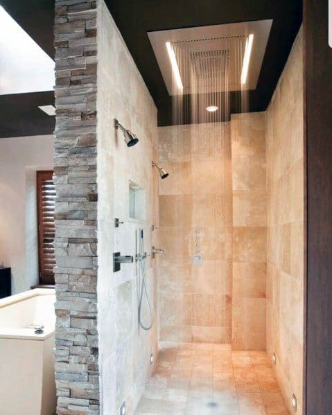 Home Shower Waterfall Fixture Lighting Ideas