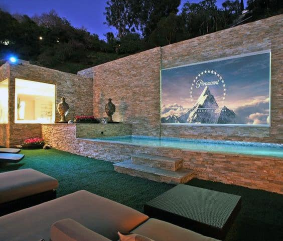 Home Swimming Pool With Projector Movie Room And Lounge