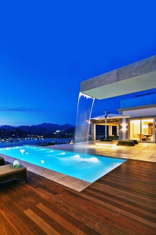 Home Swimming Pool With Rooftop Waterfall Modern Design Ideas