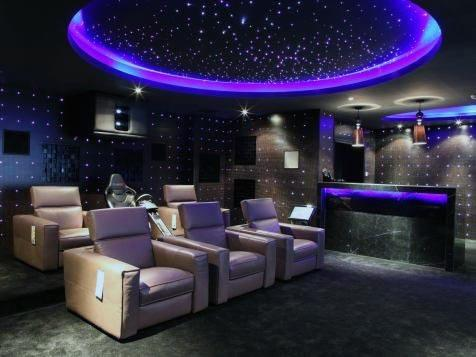 Home Theater Lighting Ideas Circular Led Ceiling With Star Fiberoptics