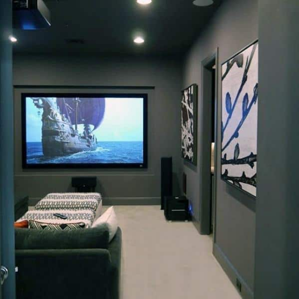 Home Theatre Grey Walls And Cream Carpet Basement Man Cave