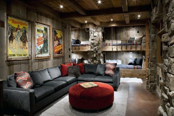 Home Theatre With Bunk Beds Rustic Basement Ideas
