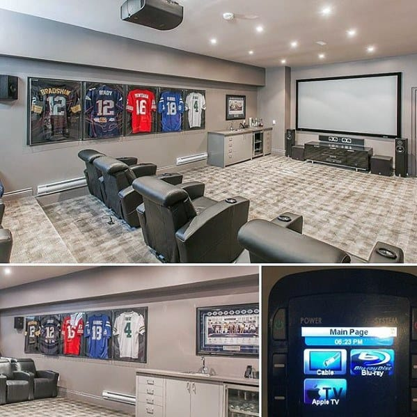 Home Theatre With Sports Theme Basement Man Cave Ideas