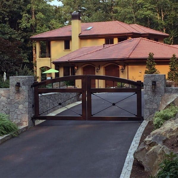 Home With Double Driveway Gate Metal