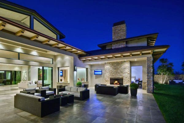 Home With Modern Backyard Outdoor Fireplace