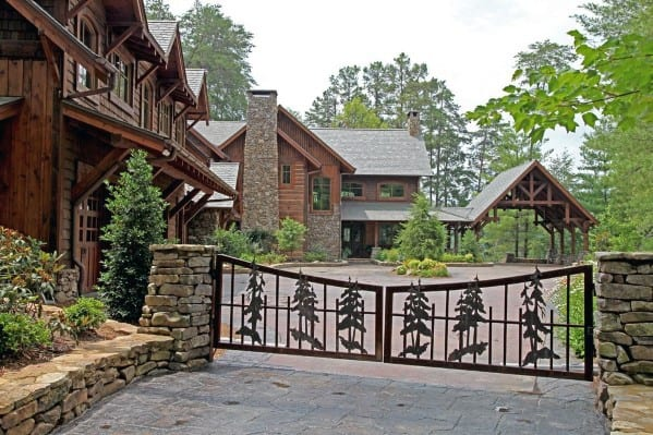 Home With Unique Driveway Gate Design