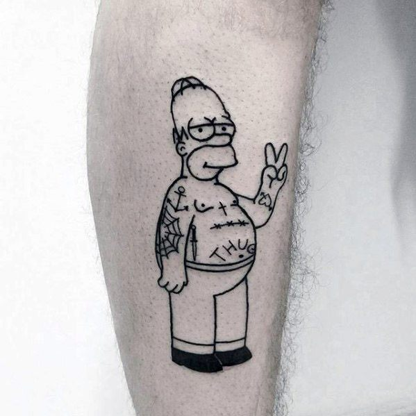 70 cartoon tattoos for men animation ink design ideas for Homer simpson tattoos