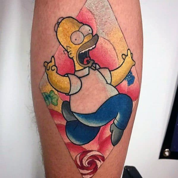 Homer Simpson Running Forearm Male Tattoo Designs