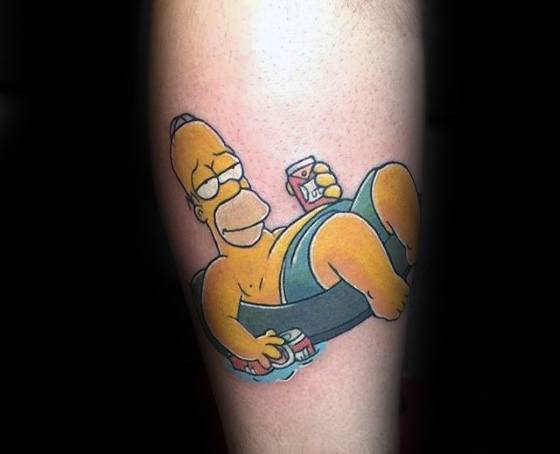 Homer Simpson Swimming Pool Forearm Tattoo Design Ideas For Males