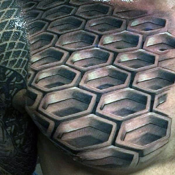 Honeycomb 3d Geometric Mens Uppper Chest Tattoo