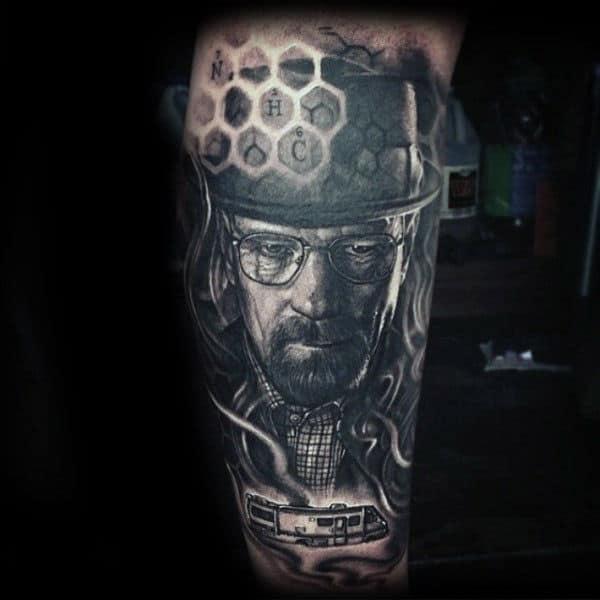 Honeycomb Breaking Bad Male Leg Tattoo