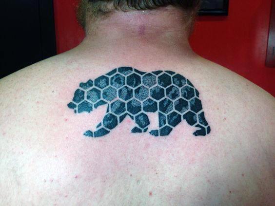 Honeycomb California Bear Mens Upper Back Tattoo