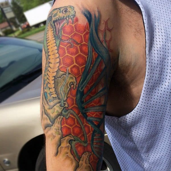 Honeycomb Dna Male Tattoos On Upper Arm
