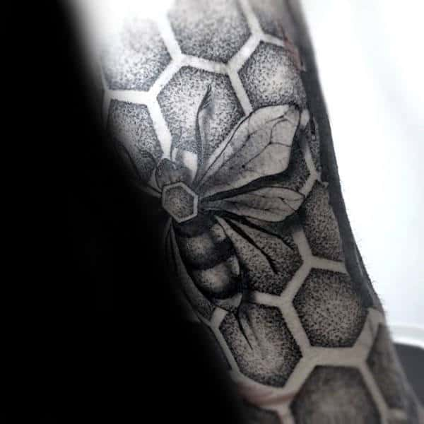 Honeycomb Dotwork Male Bee Sleeve Tattoo Inspiration