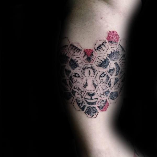 Honeycomb Mens Aries Abstract Bicep Tattoos