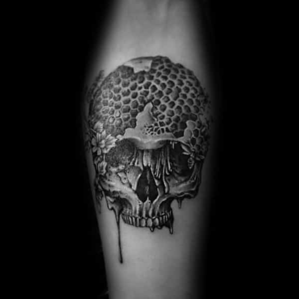 Honeycomb Skull With Bee Mens Inner Forearm Tattoo Design Ideas