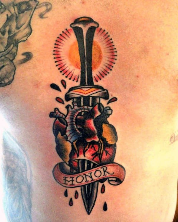 Honor Mens Dagger Traditional Heart Back Tattoos