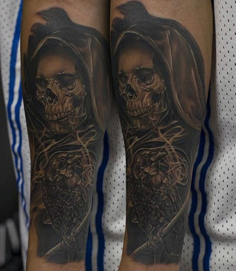 Hooded Skull And Raven Tattoo On Lower Legs For Males