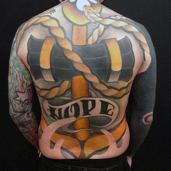 Hope Banner New School Mens Unique Anchor Full Back Tattoos
