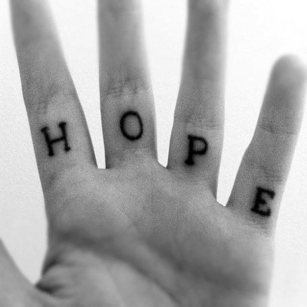 Hope Letters Mens Inner Finger Hand Tattoos