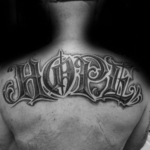 Hope Shaded Mens Upper Back Tattoo Design Ideas