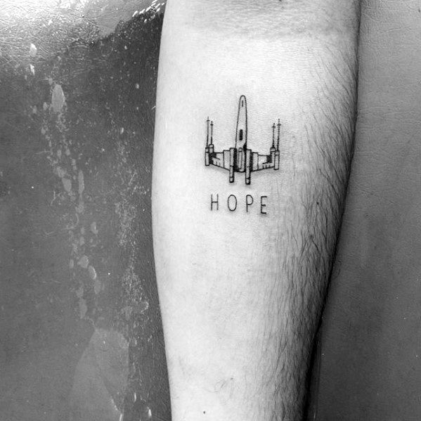 Hope Spaceship Mens Awesome Simple Inner Forearm Tattoo