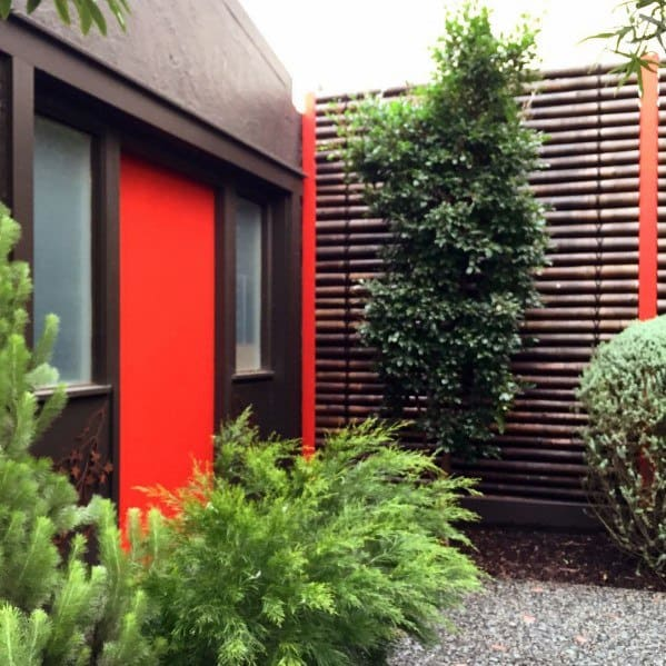 Horizontal Backyard Designs Bamboo Fence