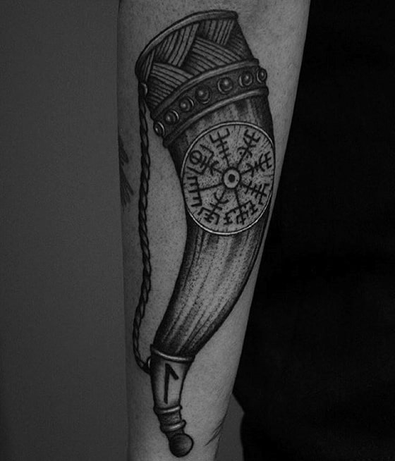 Horn With Viking Compass Male Outer Forearm Tattoo