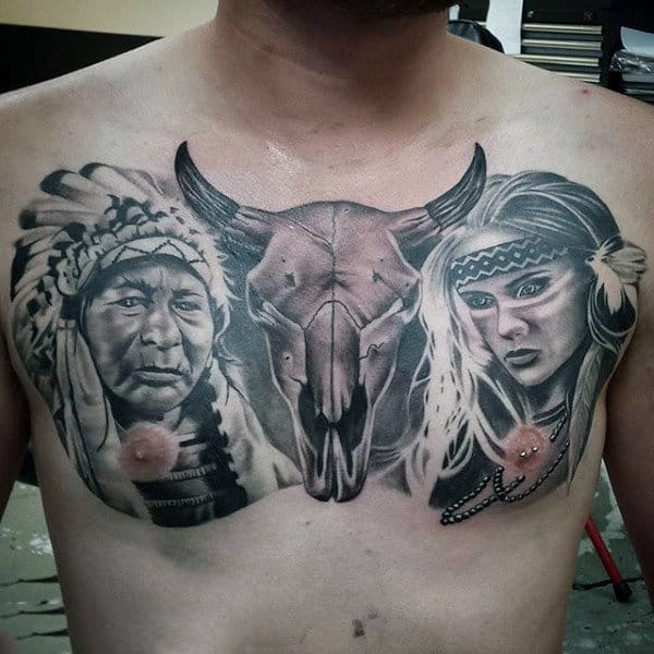 Horned Beast And Native Amercians Tattoo Guys Chest