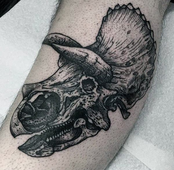 Horned Dinosaur Remains Tattoo Male Forearm
