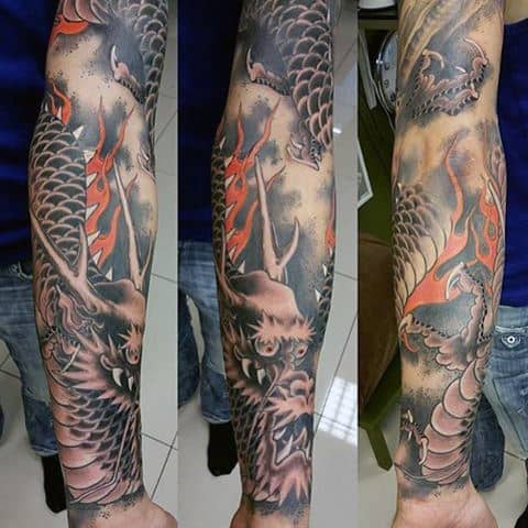 Horned Dragon Tattoo Male Full Sleeves