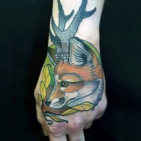 Horned Fox With Yellow Leaves Tattoo Mens Hands