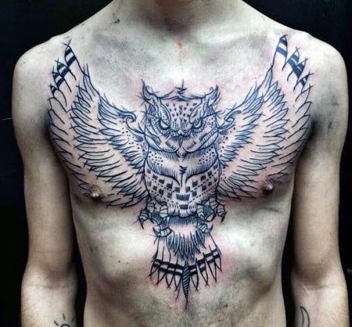 Horned Owl Tattoo For Men