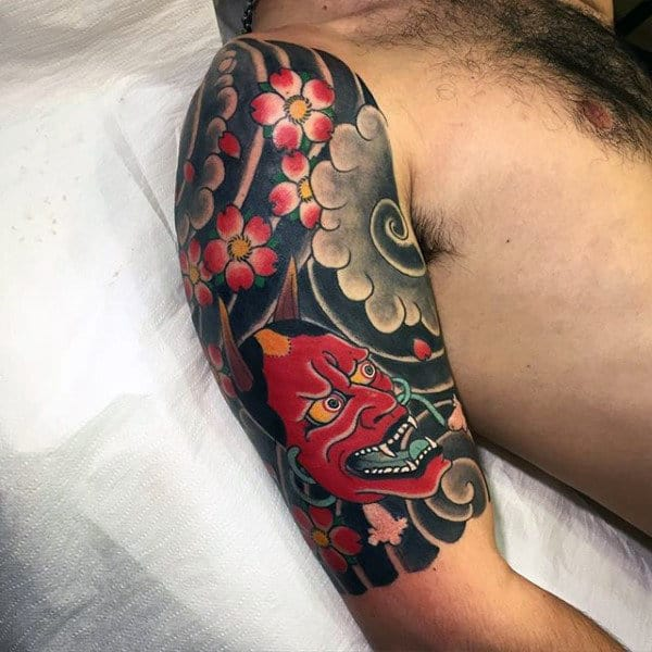 Horned Red Devil Japanese Sleeve Tattoo Guys