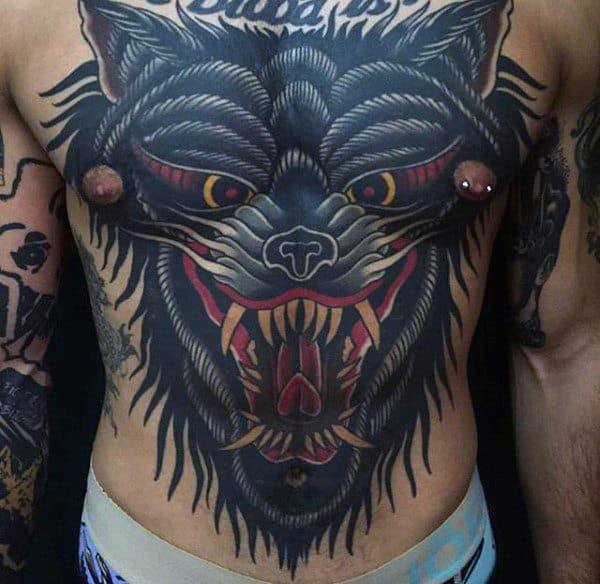 Horrendous Black Beast Tattoo Male Torso