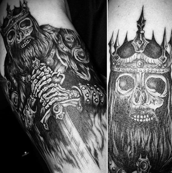 Horrendous Skull With Crown And Sword Tattoo Forearms Male