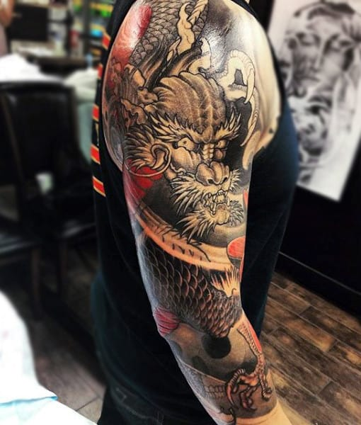 Horrifying Beast Japanese Sleeve Tattoo For Men