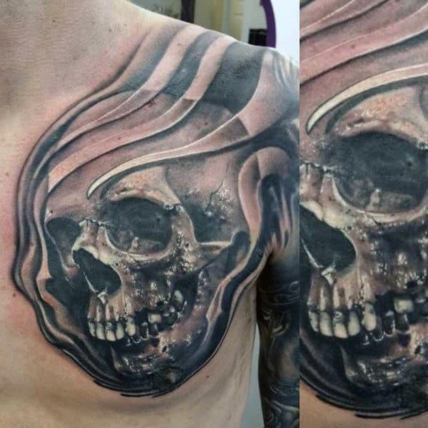Horrifying Manly Skull Tattoo Male Chest