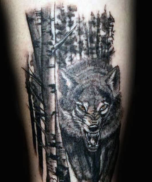 Horrifying Wild Beast And Watercolor Tree Tattoo Male Forearm