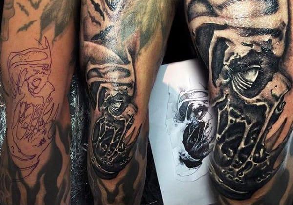 Horror Black Ink Zombie Mens Arm Tattoos