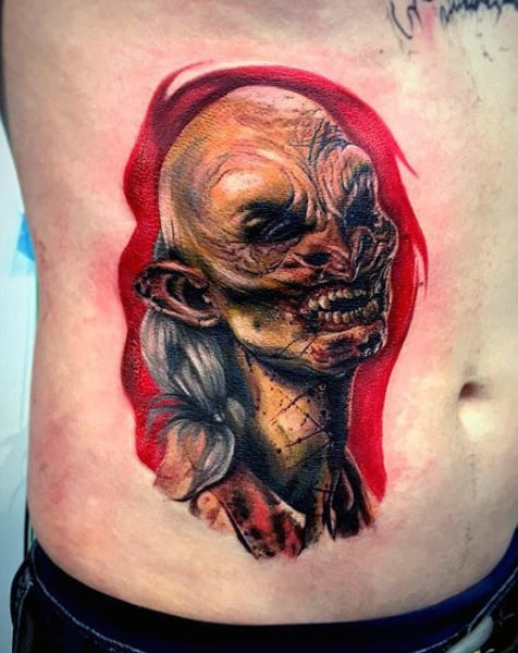 Horror Red Ink Mens Rib Cage Side Walking Dead Zombie Tattoo