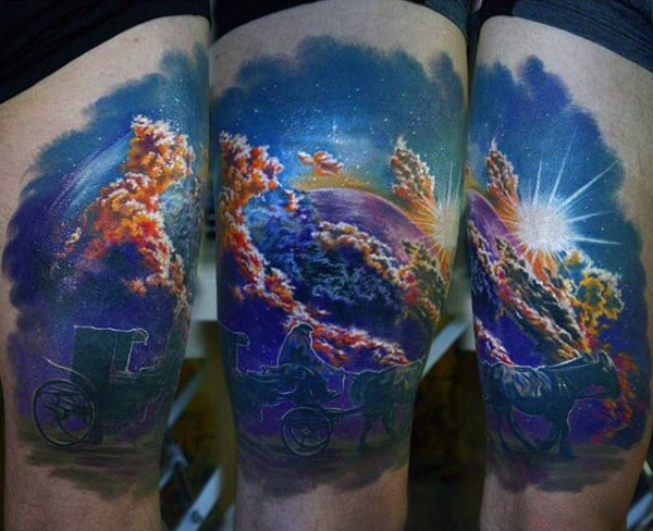 Horse Cart And Blazing Sky Astronomy Tatoo Male Arms