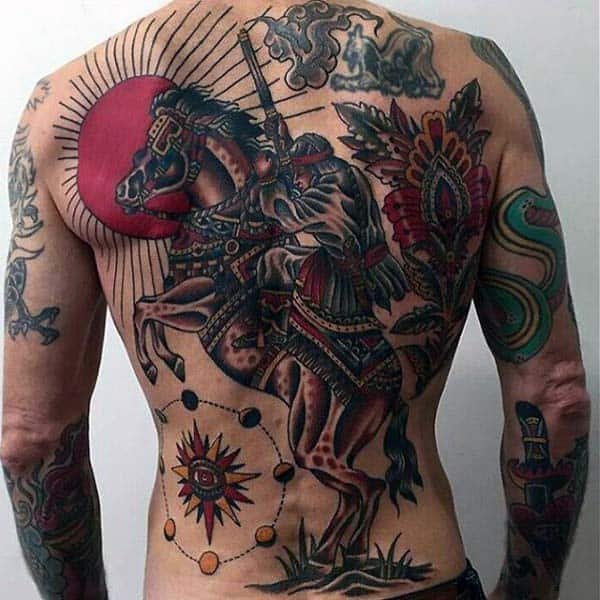 Horse Riding Warrior Mens Nice Tradtional Back Tattoos